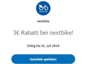 Gratis: 3 Euro Guthaben für Nextbike via Paypal geschenkt