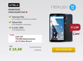 Nexus 6 mit 64 GByte samt Otelo-Flat für 469,02 Euro