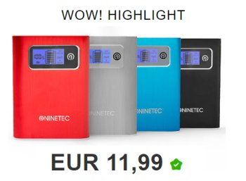 Ninetec: Powerbank NT568 mit 13.000 mAh für 11,99 Euro frei Haus