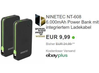Ebay: Ninetec NT-608 Powerbank mit 6000 mAh für 9,99 Euro