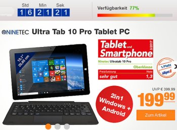 Plus: Convertible Ninetec Ultra Tab Pro mit Windows und Android für 199,99 Euro