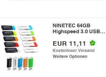 Ninetec: USB-Stick mit 64 GByte und USB 3.0 für 11,11 Euro