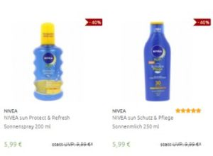 Nivea: Sonnenschutz und After Shave ab 3,99 Euro frei Haus