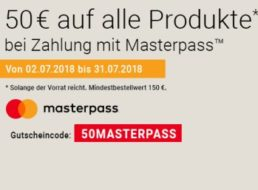 Notebooksbilliger: 50 Euro Masterpass-Rabatt ab 150 Euro Warenwert