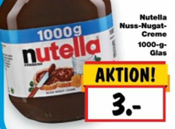 Kilogramm-Glas Nutella für drei Euro ab Donnerstag
