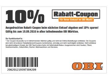 OBI: 10 Prozent Rabatt bis Montag im Baumarkt vor Ort