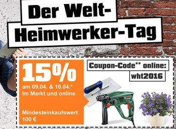 OBI: 15 Prozent Heimwerker-Rabatt auf alles ab 100 Euro Warenwert