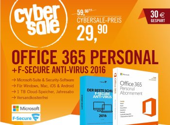 Cyberport: Office 365 & F Secure Anti-Virus 2016 für 29,90 Euro