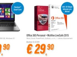 Office 365: Personal-Version mit McAfee LiveSafe für 29,90 Euro