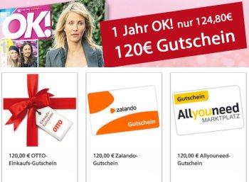 """Leserservice: 32 Ausgaben """"OK!"""" für 119,80 mit Gutschein über 120 Euro"""