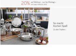 Otto: 20 Prozent Rabatt auf Küchen- und Wohnartikel bis Montag