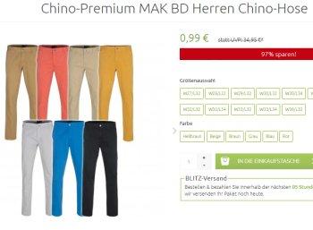 Knaller: Chino-Hosen für 99 Cent plus Versand bei Outlet46
