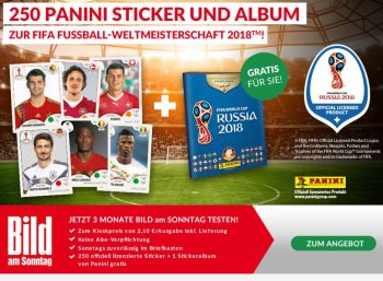 Gratis: Panini-Album mit 250 WM-Stickern zum Bams-Abo für 17,30 Euro