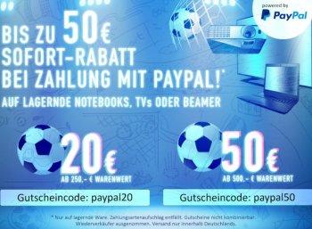 Computeruniverse: 20 - 50 Euro Paypal-Rabatt auf Notebooks, TVs und Beamer