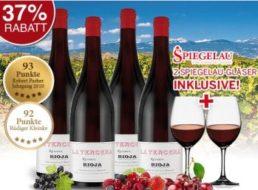 Ebrosia: Rioja mit 93-Parker-Punkten und Spiegelau-Gläsern für 44,90 Euro frei Haus