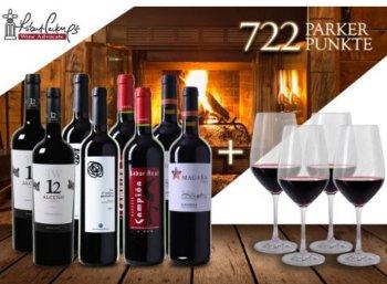 Weinvorteil: Acht Parkerweine und vier Gläser für 59,90 Euro frei Haus