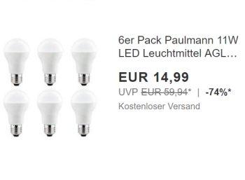 Ebay: Sechserpack LED-Leuchmittel als 60-Watt-Ersatz für 14,99 Euro