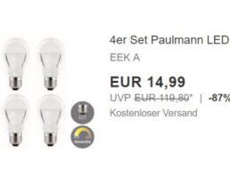 Paulmann: LED-Birnen dimmbar im Viererset für 14,99 Euro frei Haus