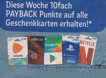 Rewe: Zehnfach Paypback-Punkte auf alle Geschenkekarten