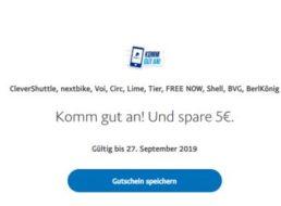 Gratis: 5 Euro Mobilitäts-Guthaben bei Paypal geschenkt