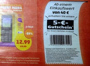 Penny: Gutschein über 5 Euro bei Einkauf über 40 Euro