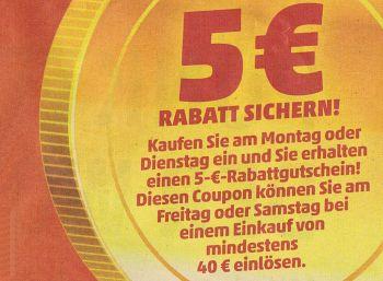 Penny: Fünf Euro Rabatt ab 40 Euro Warenwert in dieser Woche