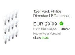 Ebay: Zwölferpack LED-Leuchtmittel von Philips für 29,99 Euro frei Haus