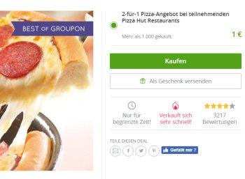 Pizza Hut: Zwei zum Preis von einer via Groupon-Gutschein (Bild: Groupon.de)
