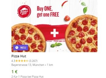 Pizza-Hut: Zwei Pizzen zum Preis von einer plus 1 Euro via Groupon