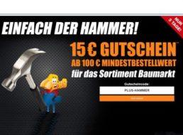 Plus: 15 Euro Baumarkt-Gutschein & Gratis-Versand ab 100 Euro Warenwert