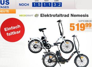 Plus: Vecocraft Elektrofaltrad Nemesis mit Klappfunktion für 519,99 Euro