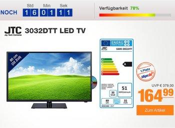 Plus: LED-TV JTC 3032DTT mit DVD-Player und Triple-Tuner für 164,99 Euro