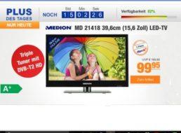 Plus: LED-TV mit Triple-Tuner und DVB-T2 für 99,95 Euro frei Haus