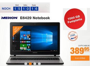 Plus: Medion-Notebook mit TByte-Festplatte und 8 GByte RAM für 389,95 Euro