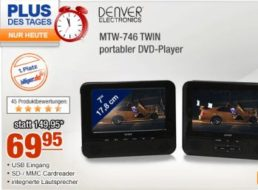 Plus: Portabler Twin-DVD-Player Denver MTW-746 für 69,95 Euro frei Haus