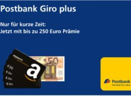 Knaller: Kostenloses Postbank-Girokonto mit bis zu 250 Euro Prämie
