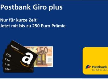 Bis zu 250 Euro Prämie für das kostenlose Girokonto der Postbank