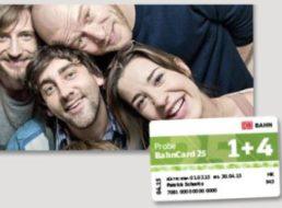 Bahn: Probe BahnCard 25 mit 25 Prozent Rabatt für bis zu 5 Reisende
