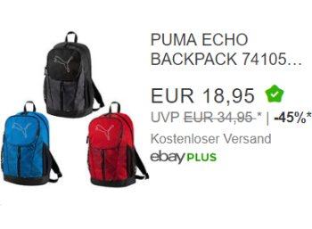 """Puma: Rucksack """"Echo"""" bei Ebay für 18,95 Euro frei Haus"""