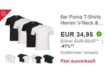 Puma: T-Shirts im Sechserpack für 34,95 Euro frei Haus