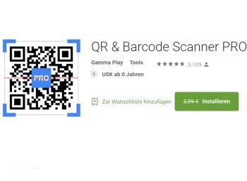 """Gratis: """"QR & Barcode Scanner PRO"""" bei Google zum Nulltarif"""