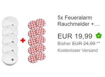 Ebay: Fünferpack Rauchwarnmelder für 19,99 Euro frei Haus