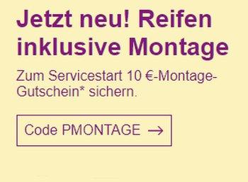 Ebay: Reifen inklusive Montage mit 10 Euro Rabatt