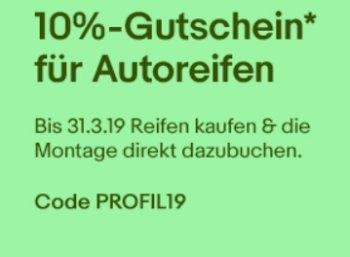 Ebay: Reifen-Rabatt von zehn Prozent bis Sonntag abend