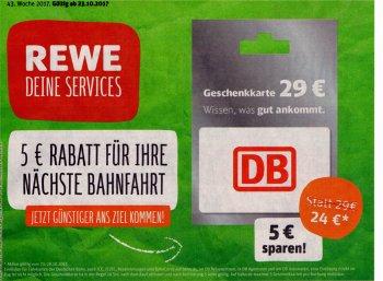 Rewe: Fünf Euro Bahn-Rabatt via Geschenkekarte