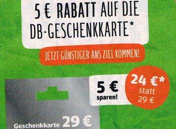 Rewe: Bahn-Guthabenkarten mit 5 Euro Rabatt für 24 Euro