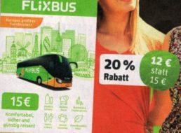 Rewe: Flixbus-Karte mit drei Euro Rabatt für zwölf Euro