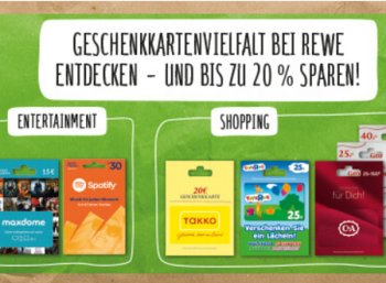 Rewe: Geschenkekarten mit 10 bis 20 Prozent Rabatt bis Samstag