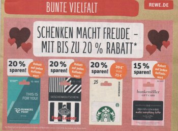 Rewe: Guthabenkarten für Starbucks und andere mit 20 Prozent Rabatt