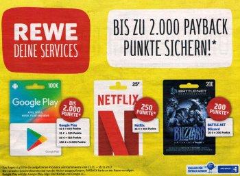 Rewe: 100 bis 2000 Payback-Punkte beim Kauf von Google-Play-Karten